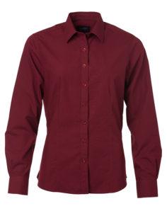 Ladies Shirt Longsleeve Poplin James & Nicholson - wine