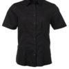 Ladies Shirt Shortsleeve Oxford James & Nicholson - black