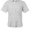 Ladies Shirt Shortsleeve Oxford James & Nicholson - silver