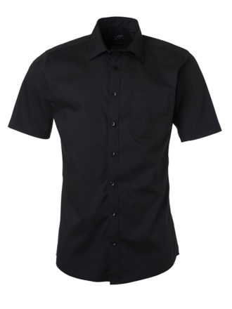 Ladies Shirt Shortsleeve Poplin James & Nicholson - black