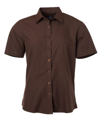 Ladies Shirt Shortsleeve Poplin James & Nicholson - brown