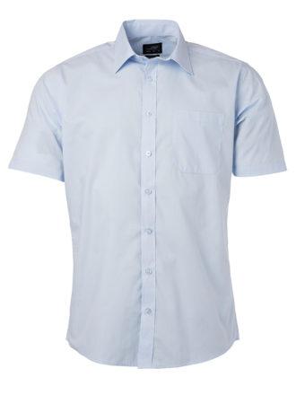 Ladies Shirt Shortsleeve Poplin James & Nicholson - light blue