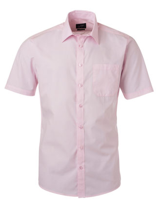 Ladies Shirt Shortsleeve Poplin James & Nicholson - light pink