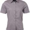 Ladies Shirt Shortsleeve Poplin James & Nicholson - steel grey