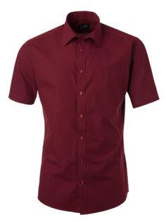 Ladies Shirt Shortsleeve Poplin James & Nicholson - wine