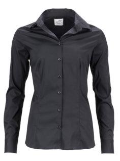 Ladies Shirt Slim Fit James & Nicholson - black