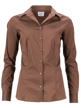 Ladies Shirt Slim Fit James & Nicholson - brown