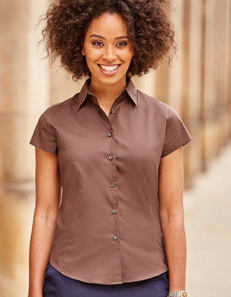 Ladies Short Sleeve Fitted Shirt Russel - chocolate brown