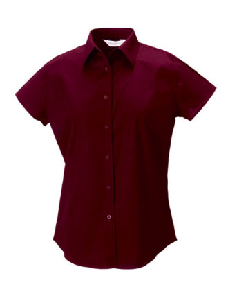 Ladies Short Sleeve Fitted Shirt Russel - port