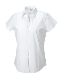 Ladies Short Sleeve Fitted Shirt Russel - white