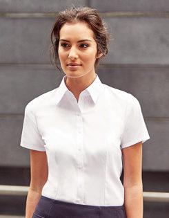 Ladies Short Sleeve Herringbone Shirt Russel