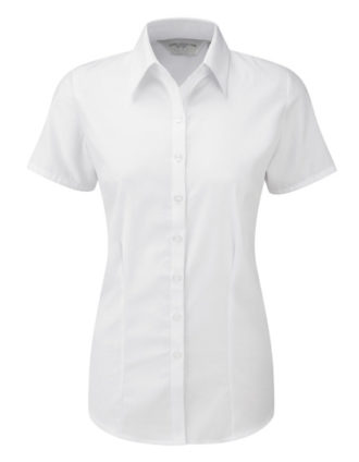 Ladies Short Sleeve Herringbone Shirt Russel - white