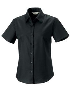 Ladies Short Sleeve Oxford Shirt Russel - black