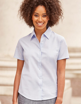 Ladies Short Sleeve Oxford Shirt Russel - oxford blue