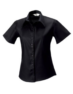 Ladies Short Sleeve Ultimate Non Iron Shirt Russell - black