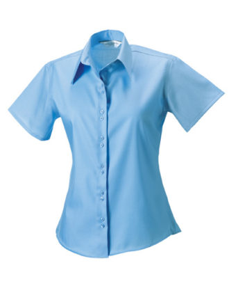 Ladies Short Sleeve Ultimate Non Iron Shirt Russell - bright sky