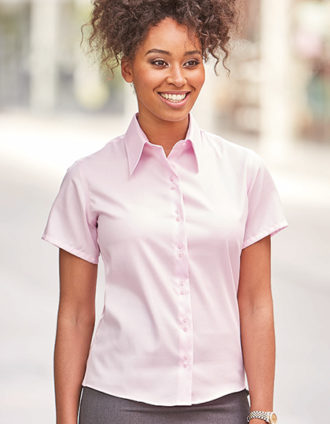 Ladies Short Sleeve Ultimate Non Iron Shirt Russell - classic pink