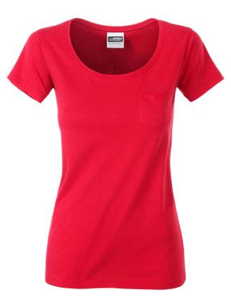 Ladies T Pocket James & Nicholson - red