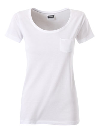 Ladies T Pocket James & Nicholson - white