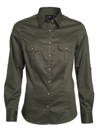 Ladies Traditional Shirt Plain James & Nicholson - olive
