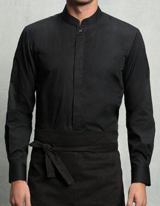 Mens Bar Shirt Mandarin Collar Long Sleeve Bargear - black