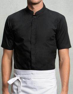 Mens Bar Shirt Mandarin Collar Short Sleeve Bargear - black