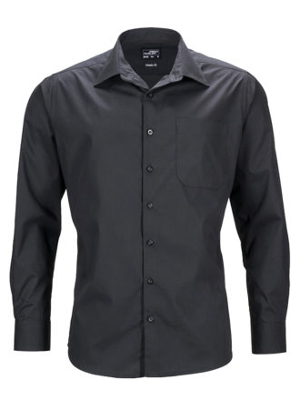 Mens Business Shirt Long Sleeved James & Nicholson - black
