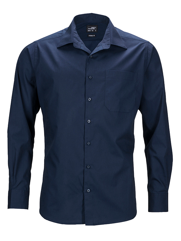 Mens Business Shirt Long Sleeved James & Nicholson - navy