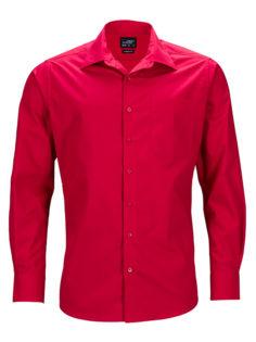 Mens Business Shirt Long Sleeved James & Nicholson - red