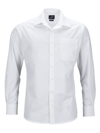 Mens Business Shirt Long Sleeved James & Nicholson - white