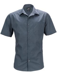 Mens Business Shirt Short Sleeved James & Nicholson - carbon