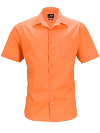 Mens Business Shirt Short Sleeved James & Nicholson - orange