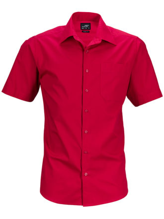 Mens Business Shirt Short Sleeved James & Nicholson - red