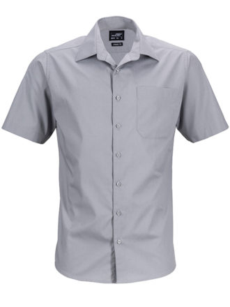 Mens Business Shirt Short Sleeved James & Nicholson - steel
