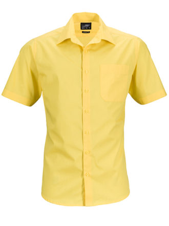Mens Business Shirt Short Sleeved James & Nicholson - yellow