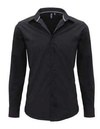 Mens Long Sleeve Fitted Friday Bar Shirt Premier - black