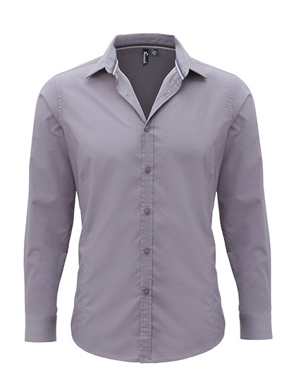 Mens Long Sleeve Fitted Friday Bar Shirt Premier - steel
