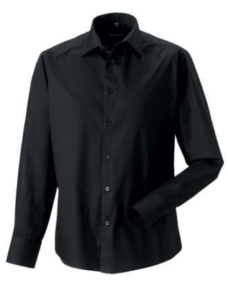 Mens Long Sleeve Fitted Shirt Russel - black