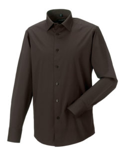 Mens Long Sleeve Fitted Shirt Russel - chocolate brown