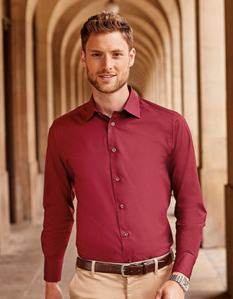Mens Long Sleeve Fitted Shirt Russel - port