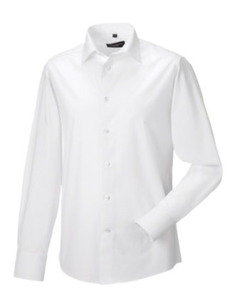 Mens Long Sleeve Fitted Shirt Russel - white