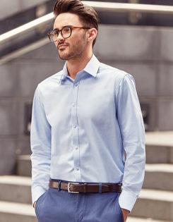 Mens Long Sleeve Herringbone Shirt Russel