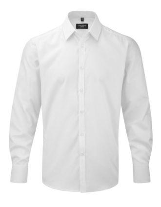 Mens Long Sleeve Herringbone Shirt Russel - white