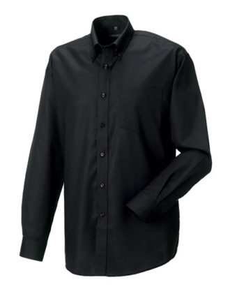 Mens Long Sleeve Oxford Shirt Russel - black