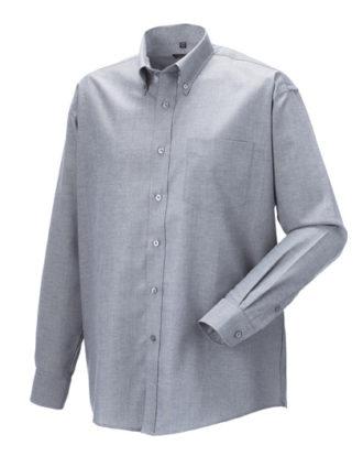 Mens Long Sleeve Oxford Shirt Russel - silver