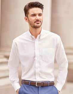 Mens Long Sleeve Oxford Shirt Russel - white