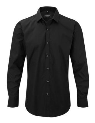 Mens Long Sleeve Ultimate Stretch Shirt Russel - black