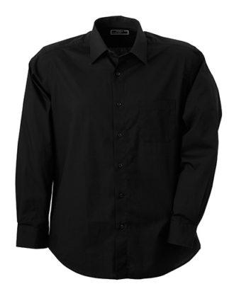 Mens Shirt Classic Fit Long James & Nicholson - black