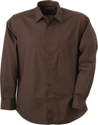 Mens Shirt Classic Fit Long James & Nicholson - brown