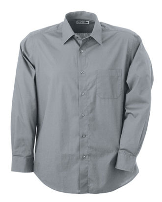 Mens Shirt Classic Fit Long James & Nicholson - grey